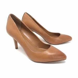 Aldo Leather Pointed Toe Pump Heels Camel Brown